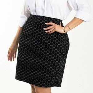 New Leota Plus 3L 3X For Dia & Co Black Luxe Skirt